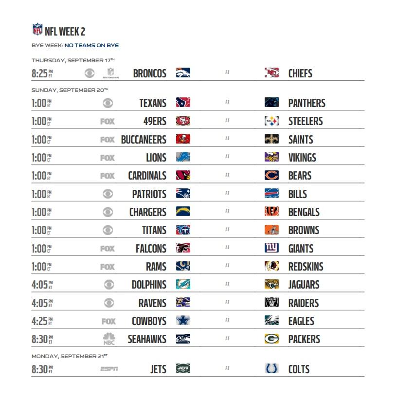 Nfl 2015 Schedule Regular Season Week 2