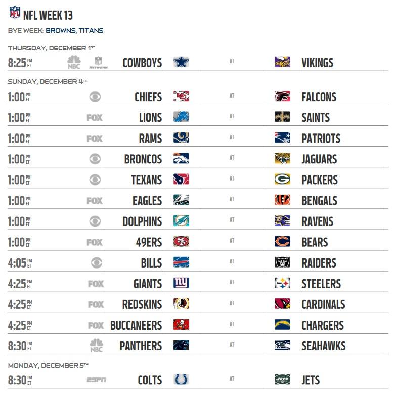 Nfl 2016 Schedule Week 13 Regular Season